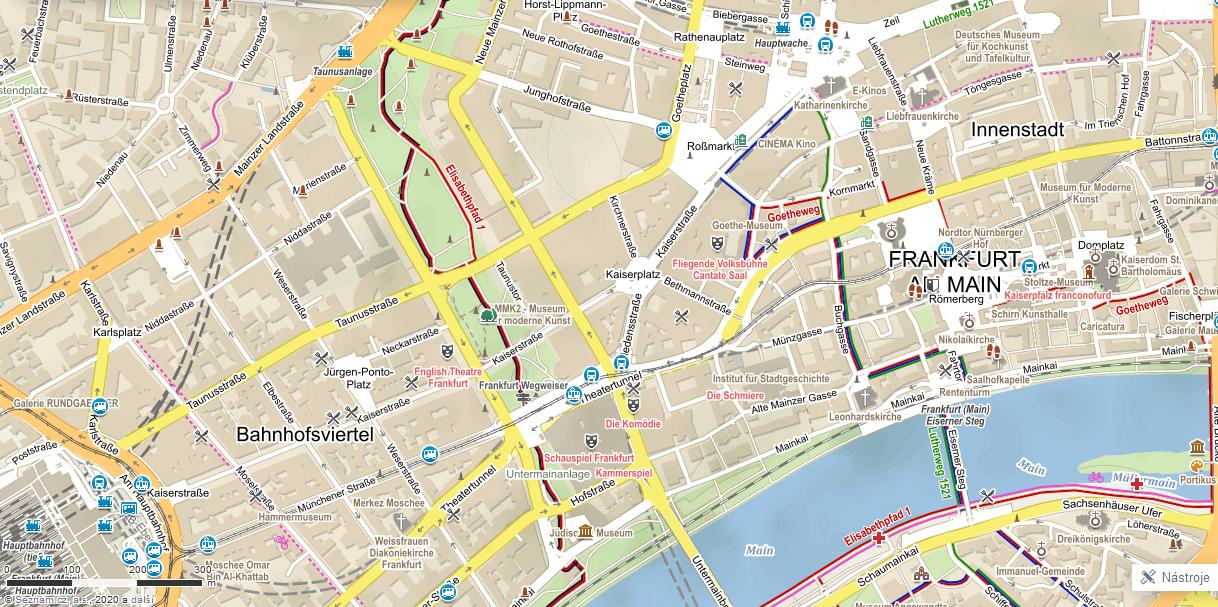 Turistická mapa Frankfurt nad Mohanem, Německo